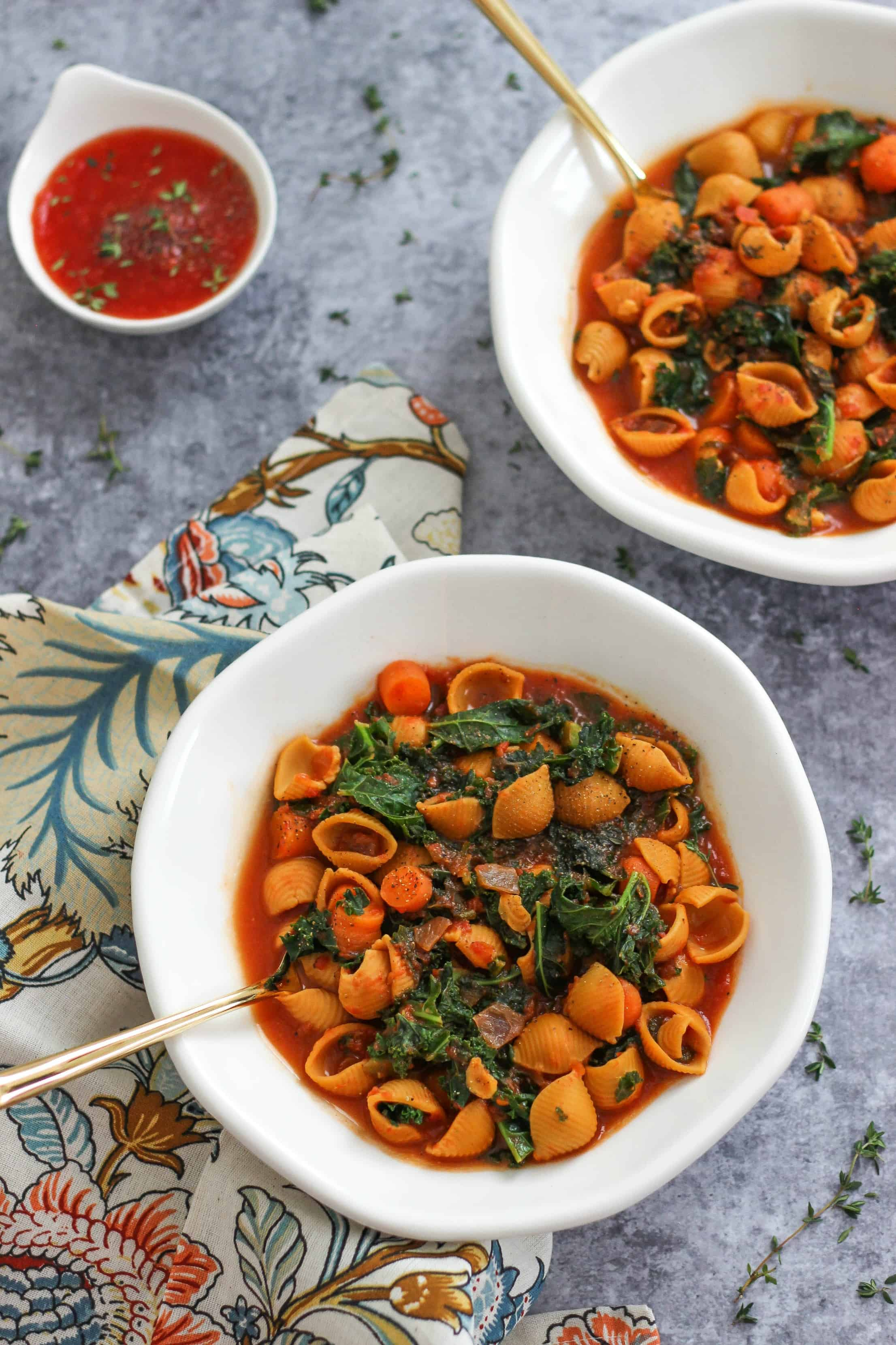 Minestrone Chickpea Pasta Soup is a hearty and healthy vegetarian soup recipe made with plant-based ingredients. #sponsored #worldmarket #worldmarkettribe