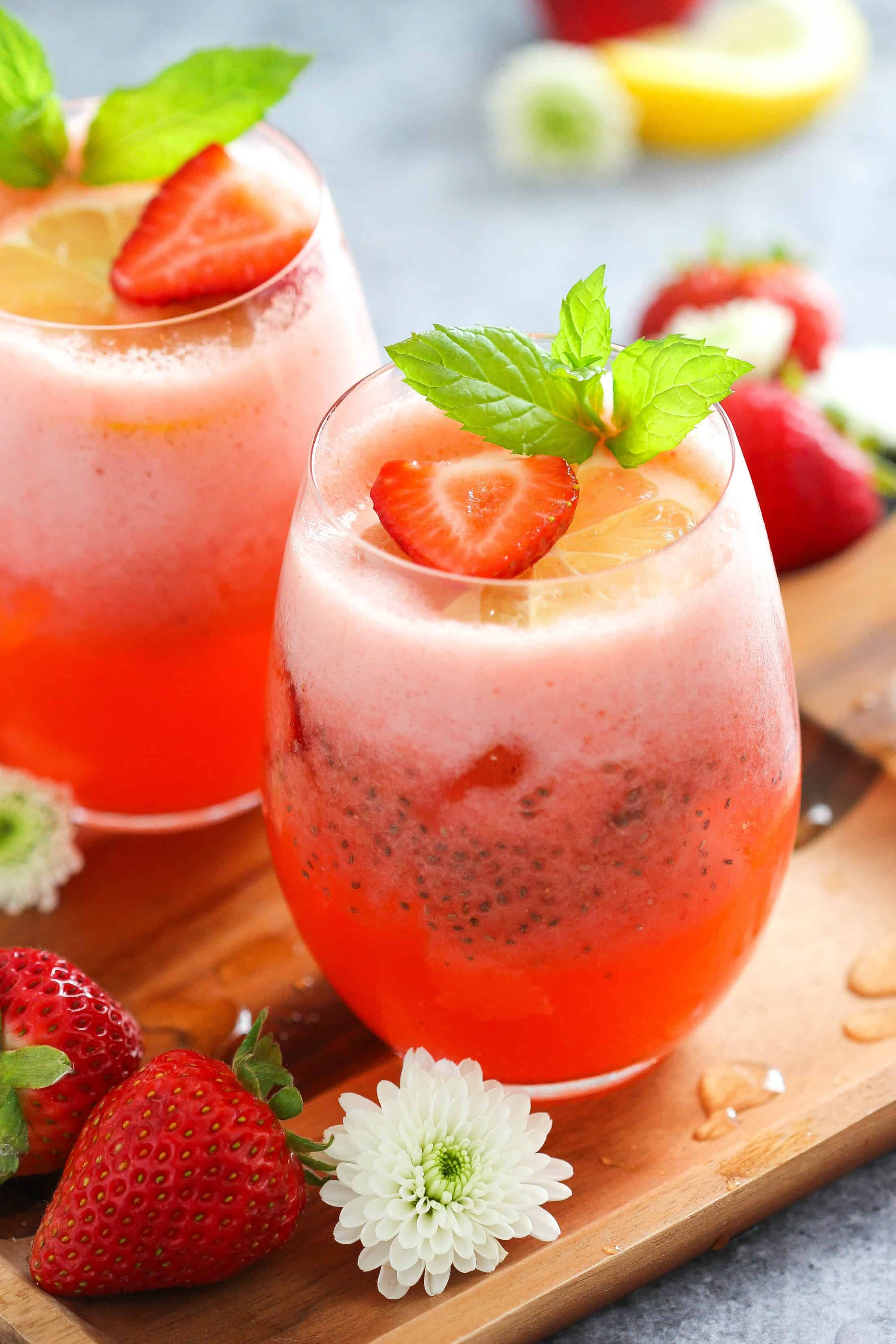 Chia Seed Drink- Strawberry Lemonade with Chia Seeds