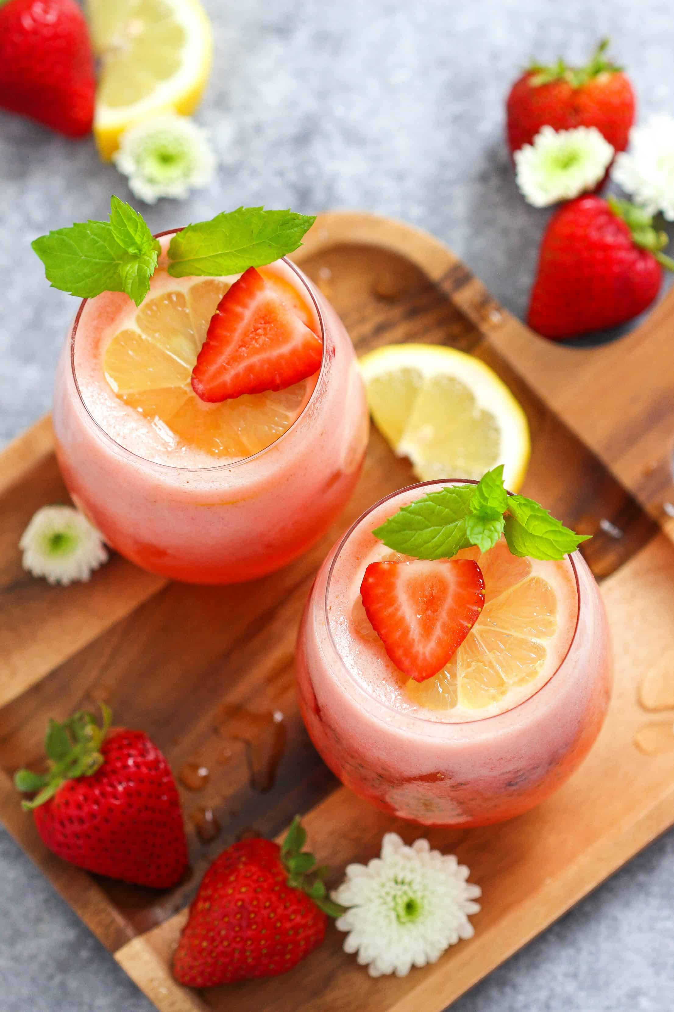 Homemade Chia Seed Drink- Strawberry Lemonade with Chia Seeds